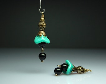 Vintage Style Bead Dangles Green Glass Flowers Pair G403