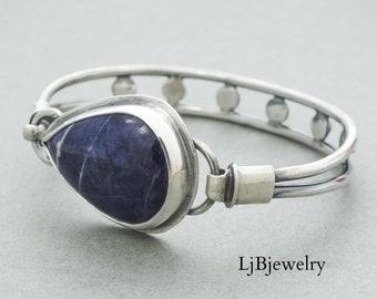Silver Sodalite Cuff, Silver Cuff, Silver Bracelet, Tension Cuff, Sodalite, Sterling Silver, Metalsmith, Handmade Jewelry, Silver Jewelry