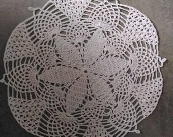 Handmade doily 22cm, white, round, made with fine cotton crochet