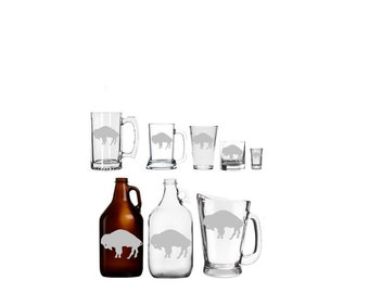 Standing Buffalo  Etched Barware - Mug - Glass - Beer - Growler