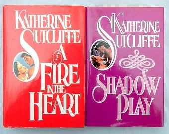 Katherine Sutcliffe Vintage Romance Novels Hardcover Books A Fire In The Heart and Shadow Play