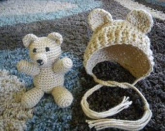 Bear and Bonnet Set - Made to order