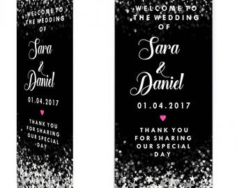 Black White and Silver Wedding Welcome Sign Roller Banner