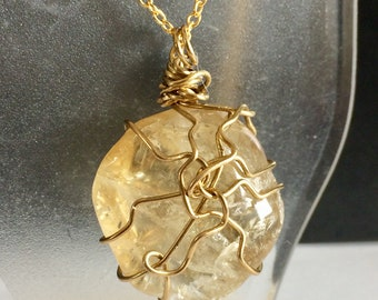 Citrine Wire Wrapped Stone Pendant, Necklace