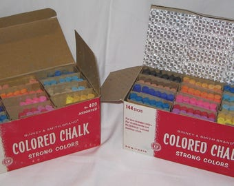 Binney & Smith Brand 2 Assorted Colored Chalk Boxes 144 Sticks 1950