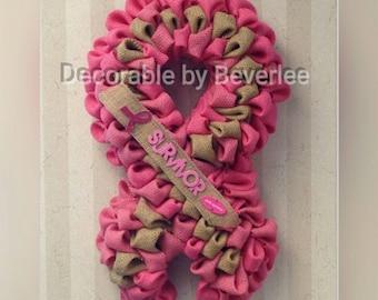 Breast Cancer awareness survivor wreath