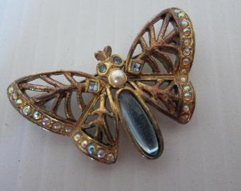 BUTTERFLY BROOCH - Blue Butterfly with Pearl Brooch - Butterfly Pin