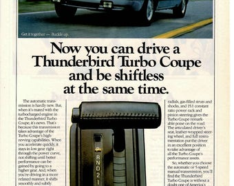 1984 Ford Thunderbird Turbo Coupe collectible vintage magazine ad wall decor man cave (1705)