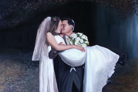 CUSTOM PORTRAIT - Wedding Portrait - Anniversary Gift - Wedding Painting - Oil Portrait