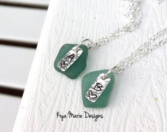 Custom sea glass initial necklace, hand-stamped necklace
