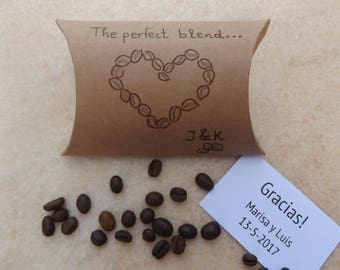 The Perfect Blend. Wedding favor coffee bag. Coffee favour. Unique wedding favours. Custom Coffee bags. Coffee favor bags for wedding.