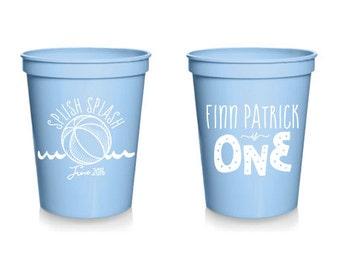 Custom Listing for Shaqualla Goings - Custom Birthday Favor - Splish Splash Birthday Cup - 1st Birthday Party - 16 oz. Stadium Cups