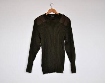 Vintage 100% Wool Canadian Army Sweater by Standard Knitting LTD. Dark Green. Fi1NyTE