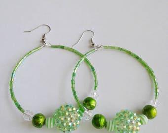 Lime green beaded hoop earrings, Green shamballa beaded earrings, Memory wire earrings