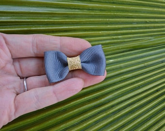 New for 2016 // Modern Bow Alligator Clip with Metallic Gold Trim // Bow Tie Hair Clip // Hand Sewn Grosgrain Bow Tie Clip