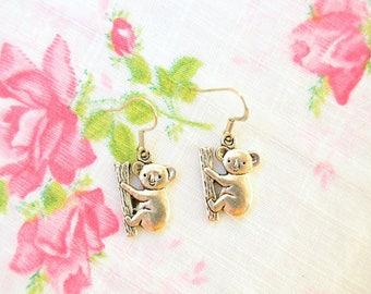 Koala Earrings - Koala Necklace - Koala Jewelry - Australia Jewelry - Koala Gift - Bff Gift - Silver Koala Charm - Nickel Free Earrings