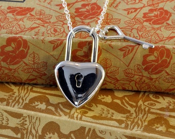 Heart Shaped Padlock Necklace, Locking Necklace with Key, Really Works