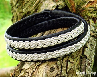 Nordic Double Wrap Sami Bracelet with Pewter on Black Leather for real Vikings and Shieldmaidens LIDSKJALV Handmade Scandinavian Jewelry