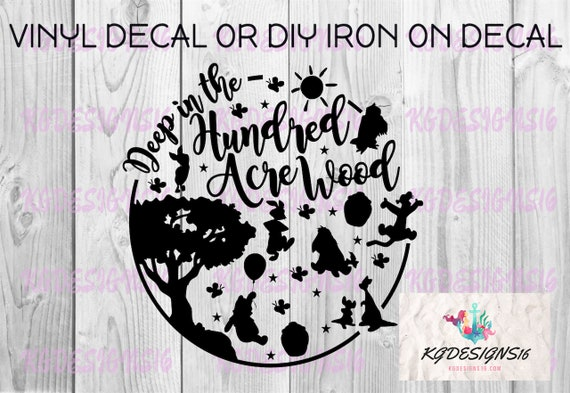 Hundred Acre Wood Decal-Winnie The Pooh Iron On Decal-Bubble Vinyl Decal-Cutout Silhouette-Coffee Mug Cup-Waterbottle-Tumbler