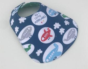 Reversible Baby Bib for Baby Boy - Baby Boy - Baby Bib - Airplanes - Baby Gift - Airplane Bib -