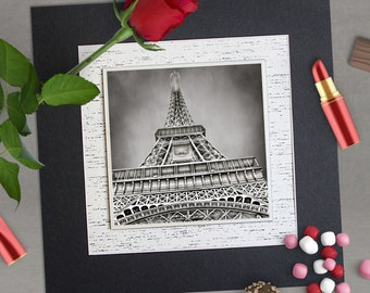 Paris, France Eiffel Tower photo tile, Black & white photo, Architectural photo, 12x12 framed wall art, Wall decor, Arts and collectibles