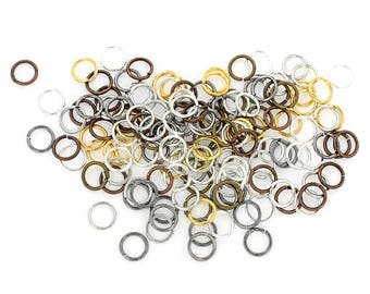 100 Jump Rings 8mm x 1mm Brass Assorted Finishes - Copper, Bronze, Gold, Silver, and Gunmetal Tones - FD376