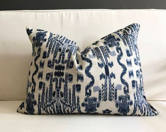 Pillow Cover, Blue Ikat Lumbar Pillow Cover, MUMBAI