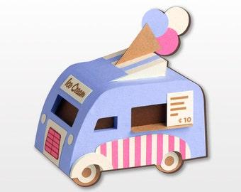 Vintage Ice Cream Van Brooch: Blue or Purpel