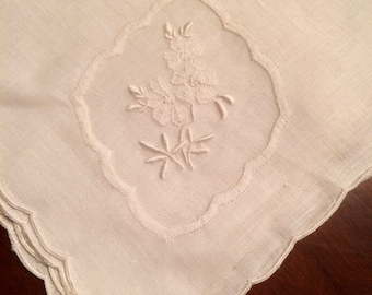 Set of 10 Antique Embroidered Large French Table Napkins