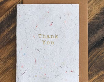 Handmade Paper Card; Recycled Paper and Fabric; Off White Thank You Card