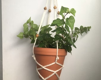 Wooden bead hanging planter