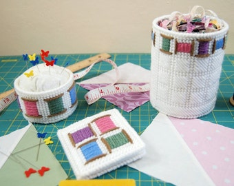 PATTERN: Cheery Spool Sewing Accessories in Plastic Canvas