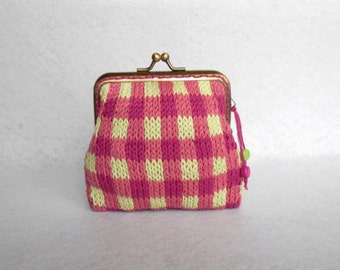 Gingham coin purse - Knitted coin purse - Metal kiss lock frame - Pink & Light green // Gift for her