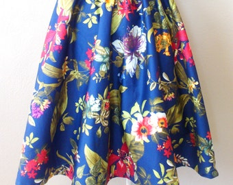 MADE TO ORDER Gathered Blue Floral Skirt/ Circle Skirt/ Party Skirt/ Cotton/ Midi skirt/ Rockabilly skirt