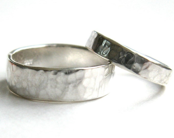His and Hers Hammered Silver Wedding Rings