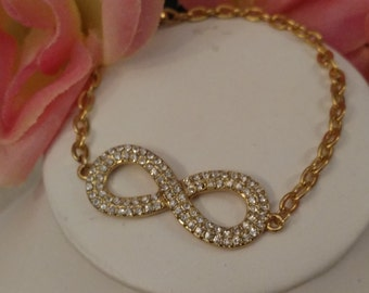 Stainless Eternity Ladies Bracelet, Gold Tone Stainless, Cubic Zirconia Stones, Small Cable Chain