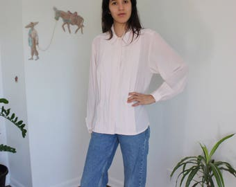 Vintage Blush Georgette Long Sleeve Blouse L