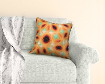 Big Abstract Sunflower Throw Pilow Cover, Oval Geometric Shapes Yellow Gold Brown Red and Mint Green Colours, Modern Country Decor