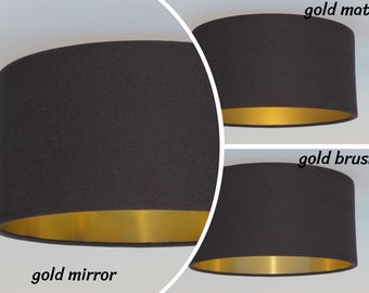 Gold mirror, gold brush,gold matt,Handmade black Pendant lamp,Hanging lamp,Ceiling lamp,drum.hand rolled,lightshade, metalic foil