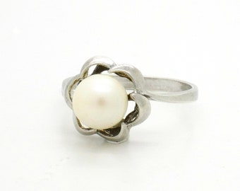 Genuine Pearl Ring Size 7.25 Sterling Silver Ring, Handcrafted Classical Mid Century Design Vintage Jewelry, Gift For Her