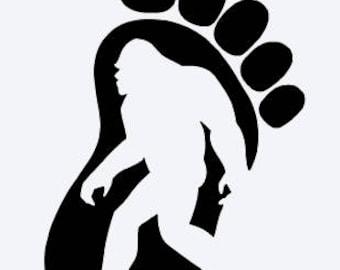 Bigfoot Footprint Vinyl Decal; Sasquatch; Yeti; Abominable Snowman