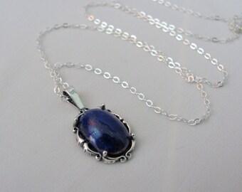 Lapis Necklace in Sterling Silver, 14x10mm Afghanistan Lapis, Lapis Lazuli Jewelry, Lapis Pendant, Blue Lapis Gemstone, Bride Gift, Wedding