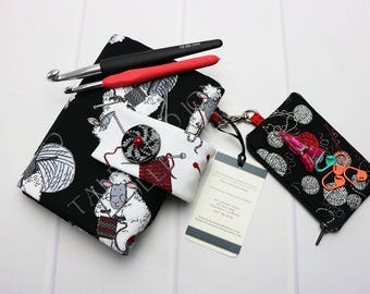Crochet Hook Holder - Crochet Hook Case - Hook Organizer - Crochet Hook Roll - Crochet Supplies - Timeless Treasures - Knitting Sheep