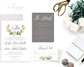 Printable Wedding Invitation Suite / Wedding Invite Set - The Evelyn Monogram Suite