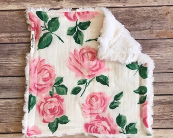 Security Blanket - Rose Baby Blanket - Rose Lovey - Rose Lovie - Rose Baby Girl - Floral Baby Blanket - Rose Baby Bedding - Rose Nursery