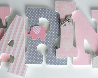 Pink and Grey Nursery Wooden Letters, Elephant Theme, Girl Bedroom