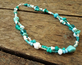 Turquoise Necklace, Turquoise jewelry, Turquoise, December Birthstone, Necklace, Boho Necklace, Gift for her, Boho jewelry, beaded necklace