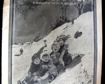 1912 Magazine Art Cover Original Children on Sled Winter Scene Sliding Down Hill
