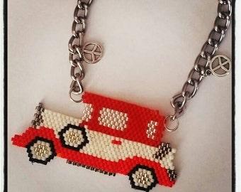 Miyuki delica peyote old red car necklace