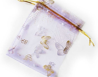Organza Gift Bags printed with silver & gold butterfies... POST FREE in packs of 10